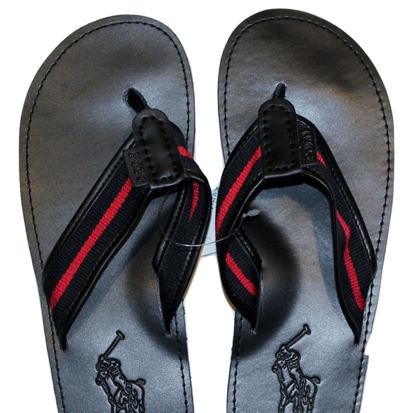 5803cf020f76 Polo Ralph Lauren Men s Leather Flip Flops Black